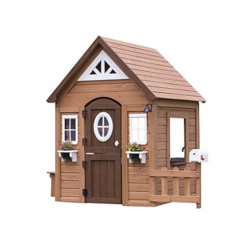 Backyard Discovery Spielhaus Aspen aus Holz | Outdoor Kinderspielhaus für den Garten inklusive Zubehör | Gartenhaus für Kinder mit Fenstern in Braun & Weiß