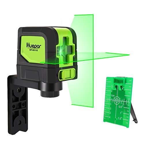 Huepar Kreuzlinienlaser Grün, DIY Linien Laser mit Selbstnivellierenden und Neigungsfunktion, H110° / V110° Abstrahlwinkel, 15m Arbeitsbereich, inkl. Magnetische Halterung und 2 AA Batterie M-9011G
