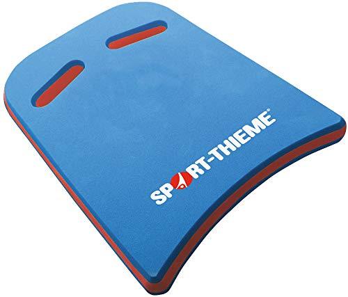 Sport-Thieme Schwimmbrett Kick mit Griffen   Kickboard, Schwimmhilfe, Schwimmtraining für Erwachsene u. Kinder   Extra starker 3-lagiger PE-Schaum   45x32x4 cm   100 g   Blau-Rot