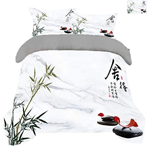 QRTQ Weiß Microfaser Bettbezug Set Chinesischer Stil Bambus Stein Muster Bettwäsche Set mit 2 Kissenbezug Super weich Polyester hypoallergen 135x200cm
