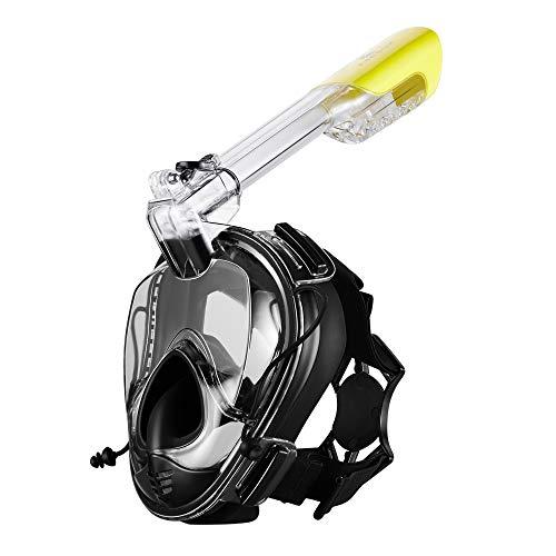 Khroom® Schnorchelmaske Tauchermaske für Erwachsene | CO2 sichere Vollmaske | Seaview 180° mit Druckausgleich | Tauchmaske Vollgesichtsmaske Schwimmmaske (Schwarz Version 3.0)