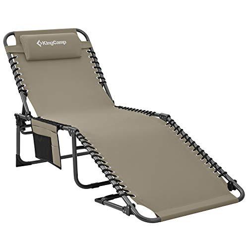 KingCamp Single Campingliege Sonnenliege Gartenliege Camping-Klappbett mit verstellbarem Rückenteil und Kopfkissen für Garten Urlaub Outdoor Beige