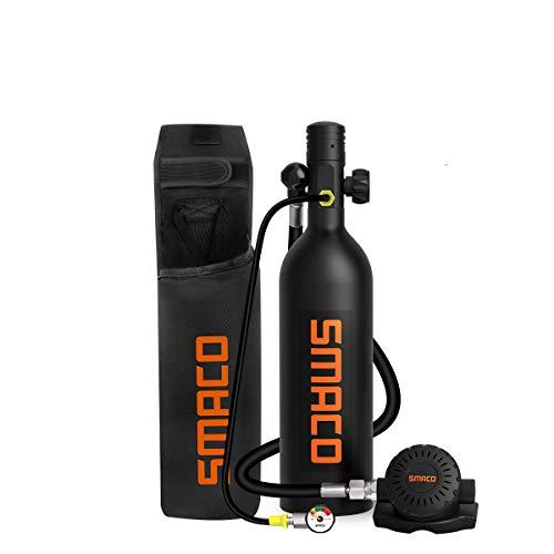 SMACO Mini Tauchflasche Sauerstoffflasche Taucherflasche Mini zum tauchen Mit 15 Bis 20 Minuten Tauchen Sauerstofftank Taucher Set Tauchausrüstung Tragbare 1L S400 PRO(10 Tage Lieferung)