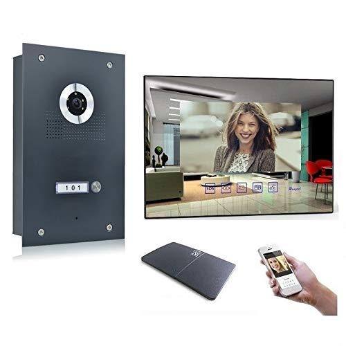 Video Türsprechanlage Gegensprechanlage mit 7'' Monitor Kamera 170° Anthrazit, Farbe: Mit, Größe: 1x7'' Monitor mit WLAN Schnittstelle