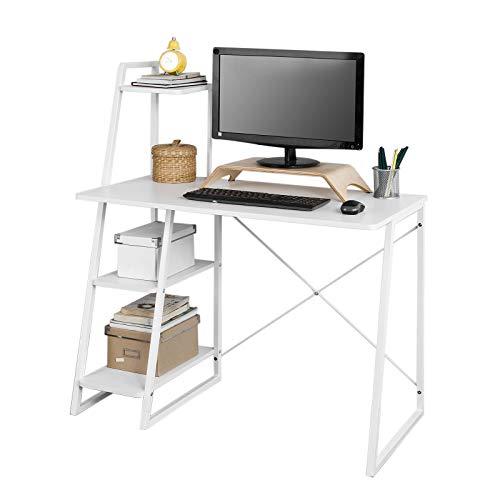 SoBuy FWT29-W Schreibtisch(102x50x75/117cm) Computertisch Arbeitstisch mit 3 Ablageflächen weiß (Ohne Stuhl)