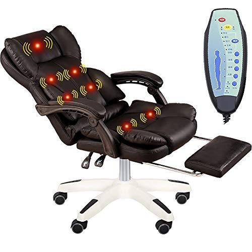ZDYLM-Y Massage-Bürostuhl, 7-Punkt-Massagefunktion mit Fußstütze und einstellbarem Neigungswinkel für Büroangestellte,Black