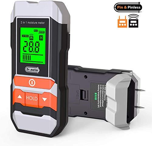 Feuchtigkeitsmessgerä, Dr.meter wandfeuchtemessgerät 2 in 1 Pin & Pinless Multifunktions-Feuerholz- / Wand- / Gebäude- / Möbelfeuchtemessgerät, Pin-Typ- & Scanner-Holzfeuchtetester