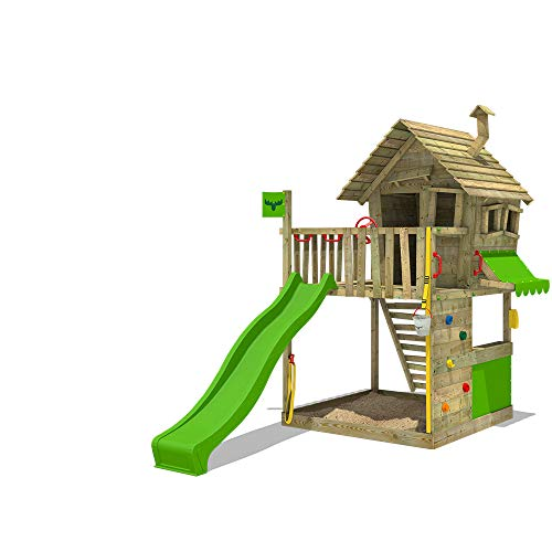 FATMOOSE Spielturm GroovyGarden Combo XXL Stelzenhaus Spielhaus auf Podest mit Holzdach, Kletterwand, apfelgrüne Rutsche und integriertem XXL Sandkasten
