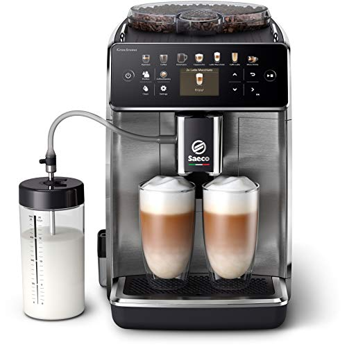 Saeco GranAroma Kaffeevollautomat SM6585/00 (16 Kaffeespezialitäten, 6 Benutzerprofile, Farbiges TFT-Display) Edelstahl