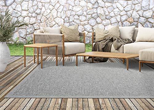 the carpet Calgary In- & Outdoor Teppich Flachgewebe, Modernes Design, Trendige Farben, Superflach, UV- und Witterungsbeständig, Grau, 160 x 220 cm