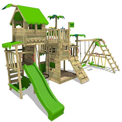 FATMOOSE Spielturm Klettergerüst PacificPearl mit Schaukel SurfSwing & apfelgrüner Rutsche, Spielhaus mit Sandkasten, Leiter & Spiel-Zubehör