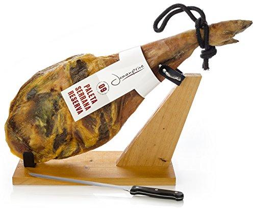Serrano Schinken (Vorderschinken) Reserva + Schinkenhalter + Messer 4,5 - 5 Kg - Spanischer Schinken