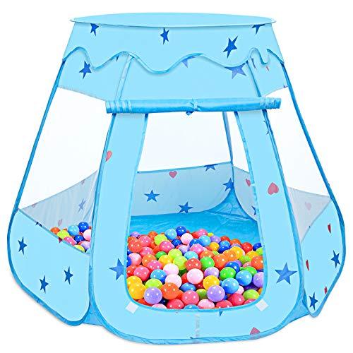 Baby Spielzelt, MOOKLIN ROAM 115 x 93cm Pop Up Zelt Baby Kugelbad Kinder Bällepool Outdoor mit Aufbewahrungsbeutel für Drinnen und Draußen, Bällebäder Plastikbälle (Bälle Nicht Inbegriffen) - Blau