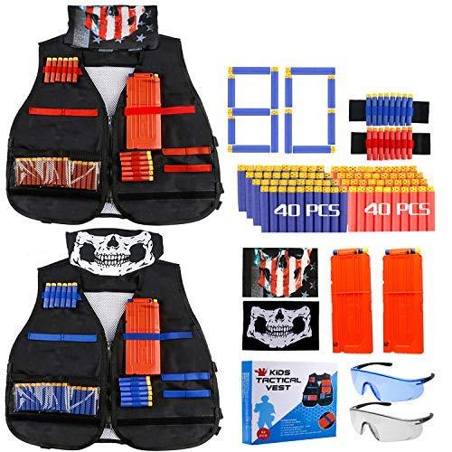 Gafild Taktische Weste Kit für Nerf, 2er Kinder Taktische Weste Jacke für N-Strike, Nerf Zubehör mit 80 Darts Nachfüllpack, 2 Clip für 12 Darts, 4 Armbände für 8 Darts und 2 Nerf Brille