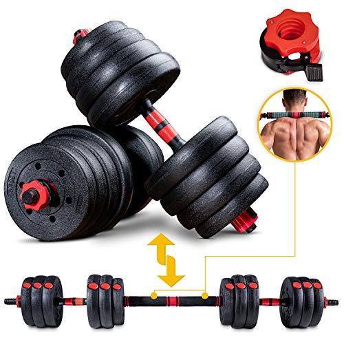 Sportstech 2in1 innovatives Hantel Set AH150 | Kurzhanteln & Langhanteln | Hanteln im 20kg, 30kg, 40kg Set | Sicherheitsverschluss + extra langes Verbindungsstück 400mm | Fitness für Männer & Frauen
