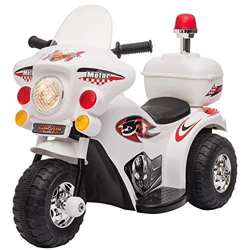 HOMCOM Elektro Kindermotorrad Kinderfahrzeug Elektrofahrzeug mit Musik und Beleuchtung 18-36 Monate Stahl Weiß 80x35x52 cm