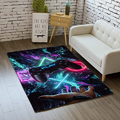 Teppich Schlafzimmer Modern Gamer 3D Controller Teenager Kind Junge Wohnzimmer Teppich rutschfeste Graffiti Spielkonsole Dekoration Carpets Schwarz Lila Rosa Flanell Teppiche (Farbe 2,120x160 cm)