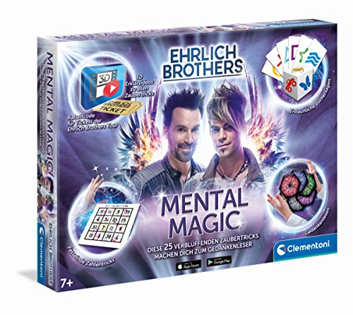 Clementoni 59182 Ehrlich Brothers Mental Magic, Zauberkasten für Kinder ab 7 Jahren, magische Anleitung für verblüffende Zaubertricks, inkl. 3D Erklärvideos, als Ostergeschenk