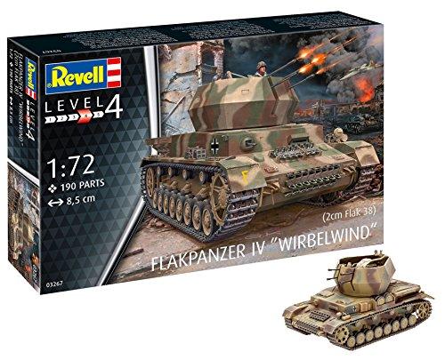 Revell RV03267 12 Modellbausatz 03267 Flakpanzer IV Wirbelwind (2 cm Flak 38), Militär-Bausatz im Maßstab 1:72, Level 4, originalgetreue Nachbildung mit vielen Details, Multicolour