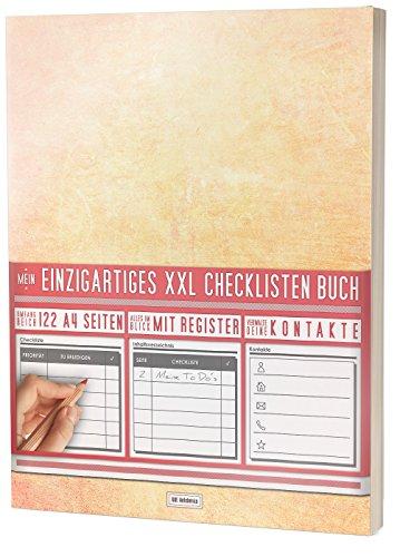 """Mein Checklisten Buch / 122 Seiten, Register uvm. / Jetzt mit Datum, Priorität und Platz für Notizen / PR501 """"Orange"""" / DIN A4 Softcover"""