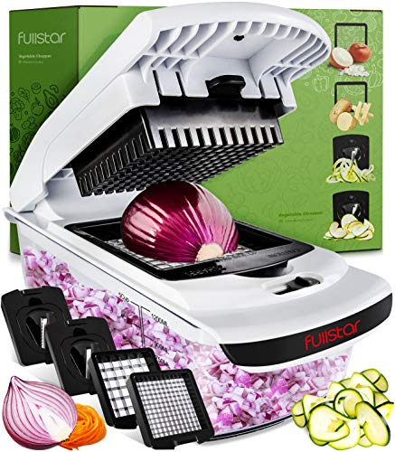 Gemüseschneider Gemüsehobel Obstschneider Mutischneider - 4 in 1 Gemüse Schneider mit Behälter Zwiebelschneider Spiralschneider - Food Chopper Slicer Dicer Vegetable Cutter