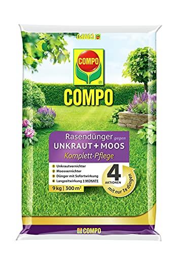 Compo 26173 FLORANID Rasendünger gegen Unkraut+ Moos Komplett-Pflege, 3 Monate Langzeitwirkung, Feingranulat, 9 kg, 300m²