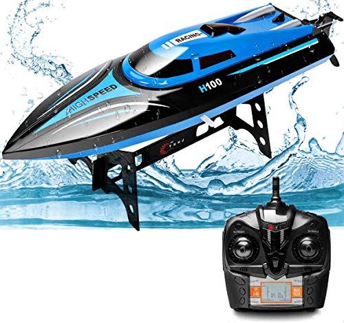 Rabing RC Boot, 2,4Ghz 20 KM/H Hochgeschwindigkeits Ferngesteuertes Boot für Pools & Seen, 1:36 Ferngesteuertes Bootsspielzeug für Erwachsene und Kinder, 4 Channels Wiederaufladbares RC Boat