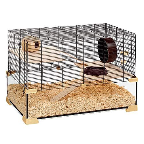 Ferplast Käfig für Hamster oder Mäuse KARAT 80 Kleine Nagetiere, Zwei Ebenen mit Zubehör, aus Glas und Metallgitter