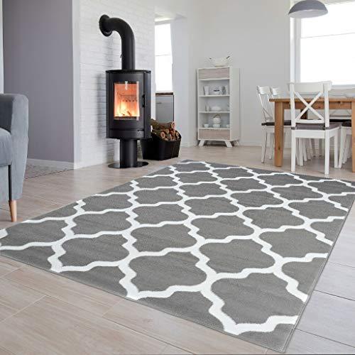 TAPISO Luxury Teppich Kurzflor Modern Marokkanisch Geometrisch Kleeblatt Gitter Muster Hellgrau Weiss Wohnzimmer ÖKOTEX 300 x 400 cm