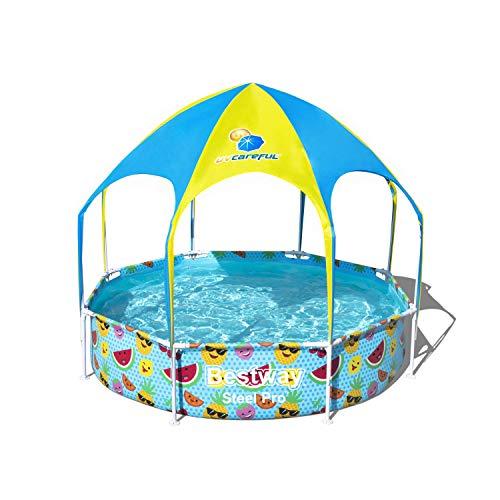 Bestway Steel Pro UV Careful Stahlrahmenpool ohne Pumpe mit Sonnenschutzdach Splash-in-Shade 244 x 51 cm Pool, Multi