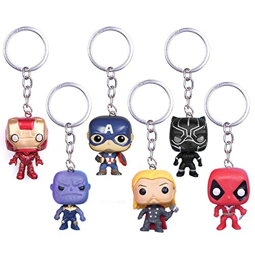 INTVN 6Pcs Marvel Fans Schlüsselbund Superhelden The Avengers Schlüsselring Deadpool Anhänger Schlusselanhanger Iron Man Spiderman Schlusselhalter