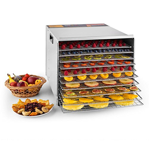 Klarstein Fruit Jerky Pro 10 - Dörrgerät, Dörrautomat, 1000 Watt, 10 Etagen, einzeln entnehmbar, einstellbare Temperatur, 1,5 m² Trockenfläche, Timer, Ventilator, silber