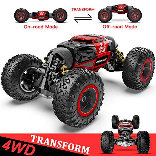 1:14 Ferngesteuertes Auto, 4WD RC-Auto für Kinder Verwandeln Schnelle Geschwindigkeit Rennen Fahrzeug, Offroad-Buggy Elektrisches Spielzeugauto mit Wiederaufladbare Batterien für Jungen und Mädchen