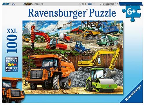 Ravensburger Baufahrzeuge 100-teiliges Puzzle mit extra großen Teilen für Kinder ab 6 Jahren