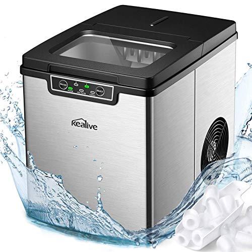 Eiswürfelmaschine Edelstahl, 13kg Eis pro Tag, Zubereitung in 6-8 Minuten, 2.2L, 2 Eiswürfel-Größen, LED-Display, Leise DC-Fan, Ice Maker, Kealive Eiswürfelbereiter ohne Wasseranschluss