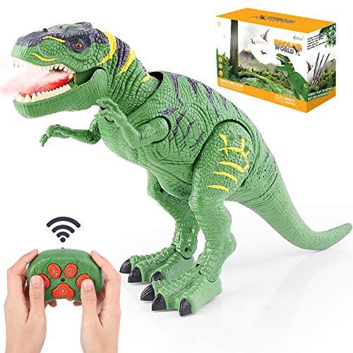 BAZOVE Leuchtend Ferngesteuert Dinosaurier Spielzeug, RC Dinosaurier Elektrospielzeug mit LED Leuchten Augen Gehen und Brüllen Projektionssprühfunktion Realistisches T-Rex Dinosaurierspielzeug, Grün