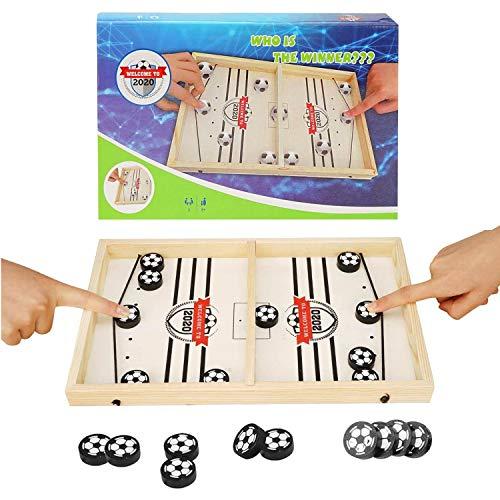 colmanda Brettspiel Hockey, Fast Sling Puck Game, Katapult Brettspiel, Tisch Hockey Brettspiel Katapult Schach, Portable Board Games aus Holz Brettspiel Schnell, Hockey Game für Kinder & Familie (5)