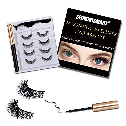 Magnetic Eyeliner,Magnetische Wimpern,4 Paar Künstliche Wimpern Natürlich Wasserdicht Falsche Wimpern Kit, 3D Falsche Eyelashes mit Magnetischer Eyeliner und Pinzette