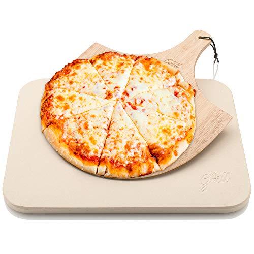 Hans Grill Pizzastein Pizza Ofenstein mit Holz Pizza Peel Brett | Langlebig, dick & echt Holz, rechteckig, leicht zu Handhaben | Backen, Grillen und Servieren Für Torten, Gebäck, Kuchen, Brot, Pizza