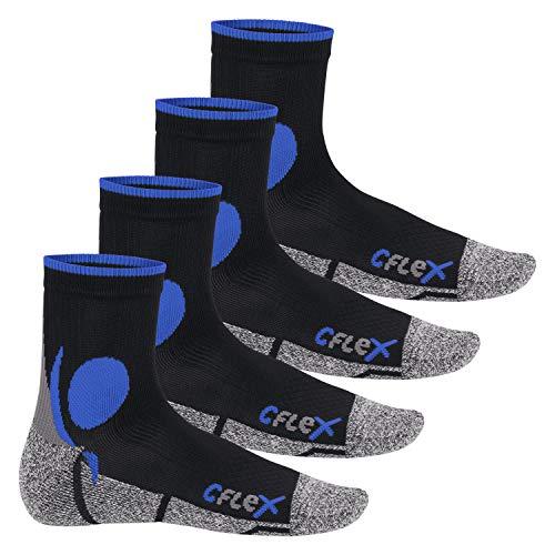 CFLEX Damen und Herren Running Funktions-Socken (4 Paar) Laufsocken - Schwarz-Blau 39-42