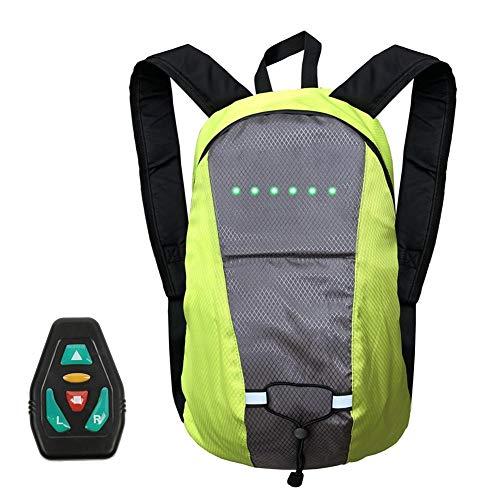 Fahrrad Blinker Blinker Fahrrad Fahrrad Rucksack,15L Fahrrad Schulter Rucksack Mit LED-Signalanzeige, LED Drahtlose Fernbedienung Sicherheit Blinker Licht Rucksack Grün