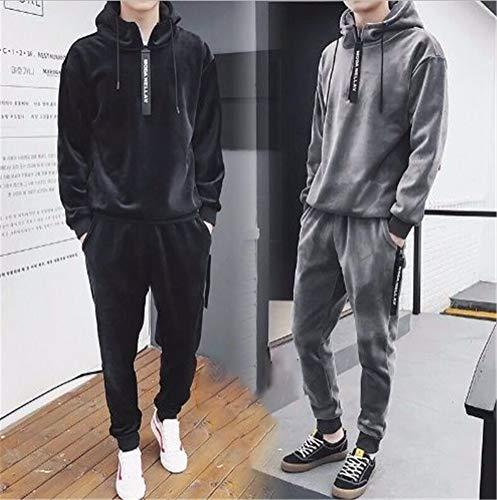 youfenghui Herren Velour Hoodies Trainingsanzug Velvet Jogger Pants, Active Pants mit Kordelzug, Herren Velvet Velour Hip Hop Mode Hoodies Streetwear Outdoor M-3XL (Black, 3XL)