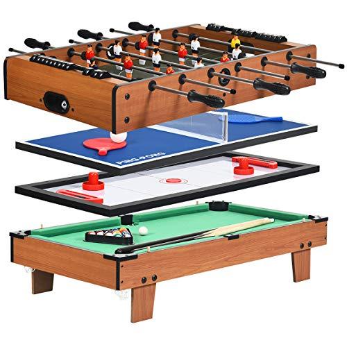 COSTWAY 4 in 1 Spieltisch, Billardtisch & Tischtennistisch & Air Hockeytisch & Tischkicker, Multifunktionsspieltisch aus Holz, perfekt für Spielzimmer, Bars, Partys, für Kinder und Erwachsene
