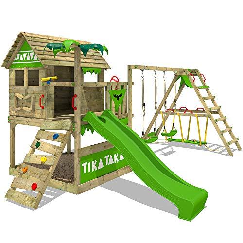 FATMOOSE Spielturm Klettergerüst TikaTaka mit Schaukel SurfSwing & apfelgrüner Rutsche, Stelzenhaus mit Sandkasten, Leiter & Spiel-Zubehör