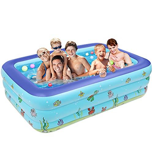 ARNTY Pool Rechteckig,Aufstellpool,DREI Schichten Frame Pool,Swimming Pools,Schwimmbecken für Kinder,Erwachsene,Babys,Outdoor,Garten (262 * 175 * 60cm, Deep Sea-A)