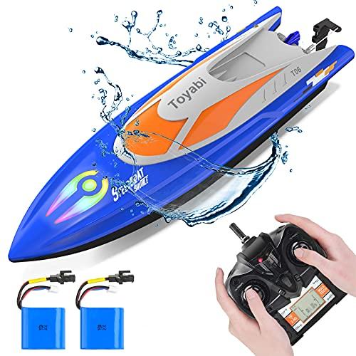 GizmoVine Ferngesteuertes Boot , RC Boot , Hochgeschwindigkeits 25KM / H 2.4 GHZ , LCD Batterie Schwach & Überdistanzalarm für Jungen , Mädchen , Erwachsene