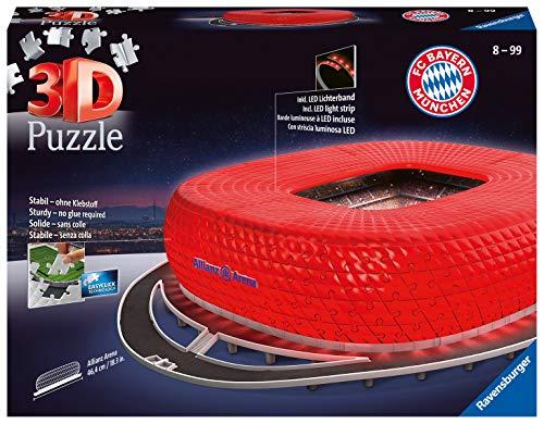 Ravensburger 3D Puzzle Allianz Arena bei Nacht, FC Bayern München Fanartikel für Kinder ab 10 Jahren und Erwachsene, Leuchtet im Dunkeln