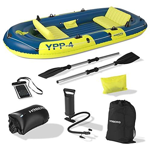 Hoberg 4-Sitzer Schlauchboot YPP-4'   Für 4 Personen   Inkl. 2 Sitzbänken, 2 Paddel, Pumpe & weiterem Zubehör   322 x 165 cm [bis 360 kg Belastung]
