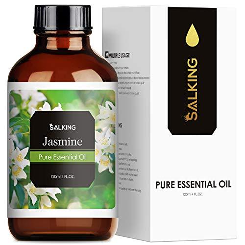 SALKING Jasminöl 120ml, 100% Reine Natürliche Jasmin ätherisches öl für Aroma Diffuser, Aromatherapie Duftöl für Duftlampen Luftbefeuchter, Massage, Seife, Kerzenherstellung, Geschenke für Frauen