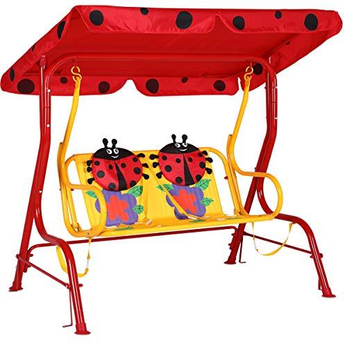 Spielwerk Hollywoodschaukel mit Sonnendach und Sicherheitsgurten 2 Sitzer Gartenschaukel Schaukelbank Doppelschaukel für Kinder